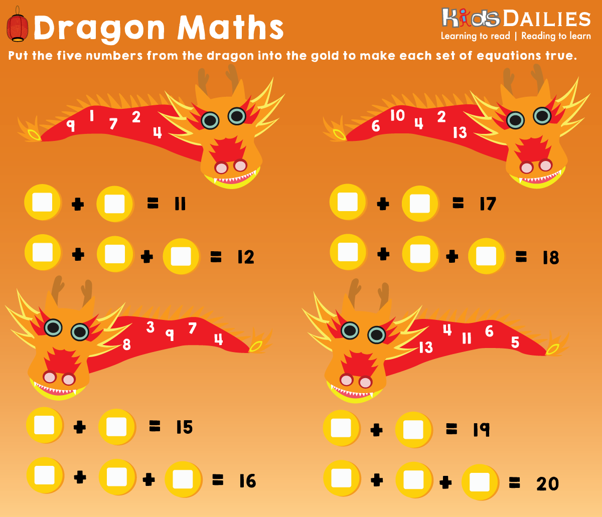 Daily10 Chinese New Year Dragon Maths Game for children aged 812 – Age 8 Maths Worksheets