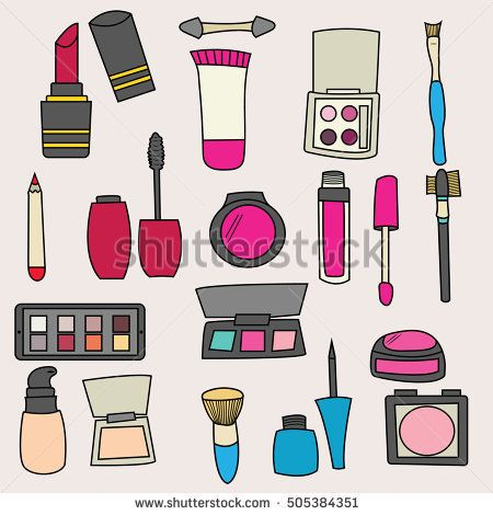 Makeup products design set. Cartoon free hand draw doodle