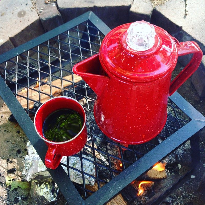 Camping Coffee Maker - Camp coffee made in an enamelware coffee maker percolator