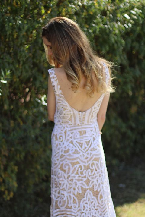 Bohemian open back dress with train from vintage Battenburg lace by ...