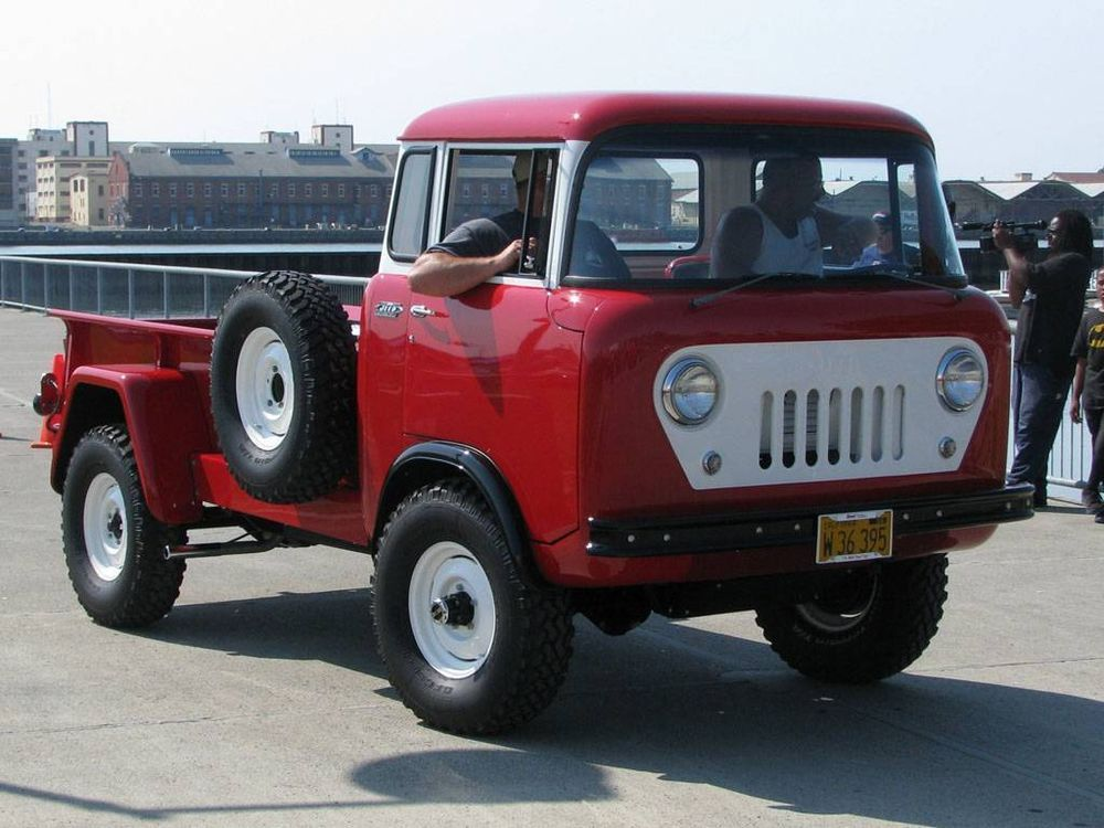 old photo red 1960 willys jeep fc 170 c o e truck. Black Bedroom Furniture Sets. Home Design Ideas
