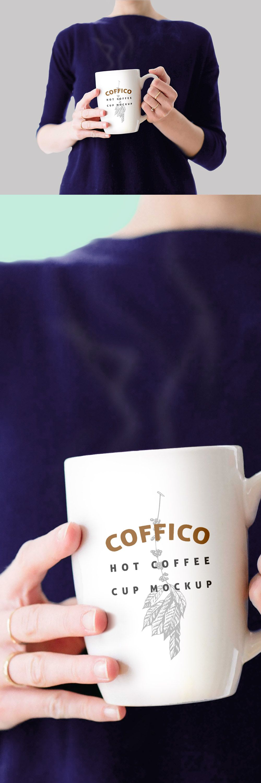 Woman Holding a Coffee Mug Mockup PSD Coffee mugs with