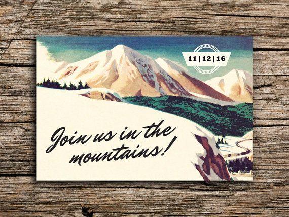 Retro Mountain Save the Date Vintage Postcard // Colorado Wedding Mountain Postcard Invitation Outdoors Wedding Invitation Retro Ski Lodge