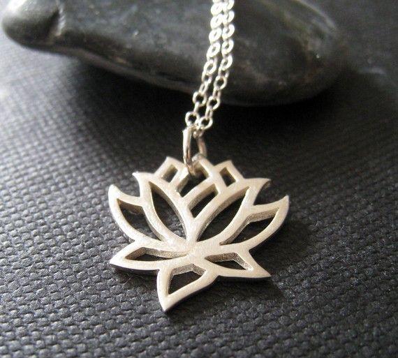 Collar de loto plata encanto del loto finas joyas de por NYmetals