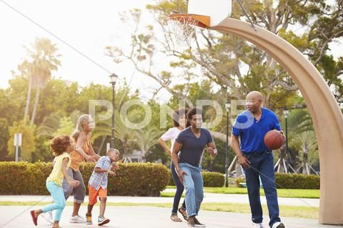 Multi Generation Family Playing Basketball Together Stock Photos Ad Family Generation Multi Playing Generation Professional Business Cards Basketball
