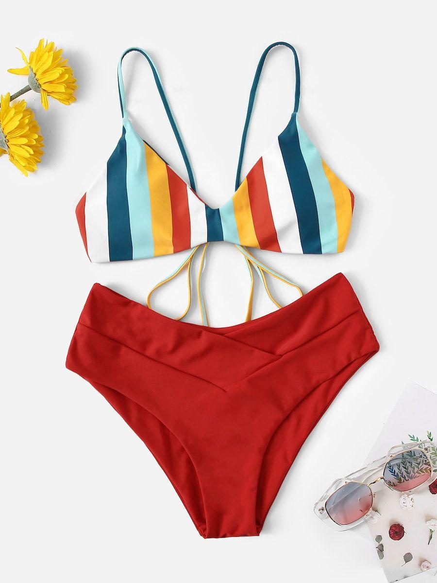 7e2ffa09791c Tie Back Striped Top With High Waist Bikini Set -SHEIN(SHEINSIDE ...