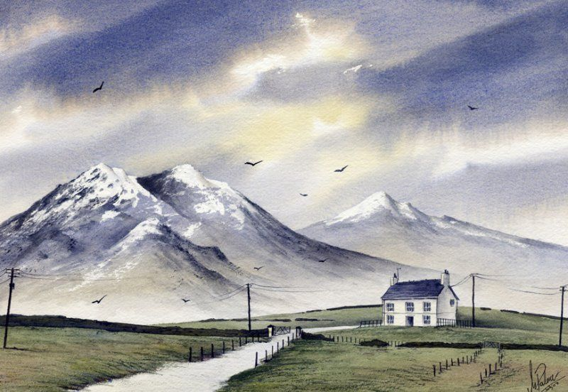 Snowy Mountains Scene Watercolour Painting Canvas Art Canvas Art