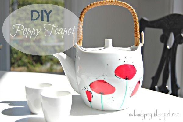 Diy Poppy Teapot Tea Pots Painted Teapot Handmade Gifts