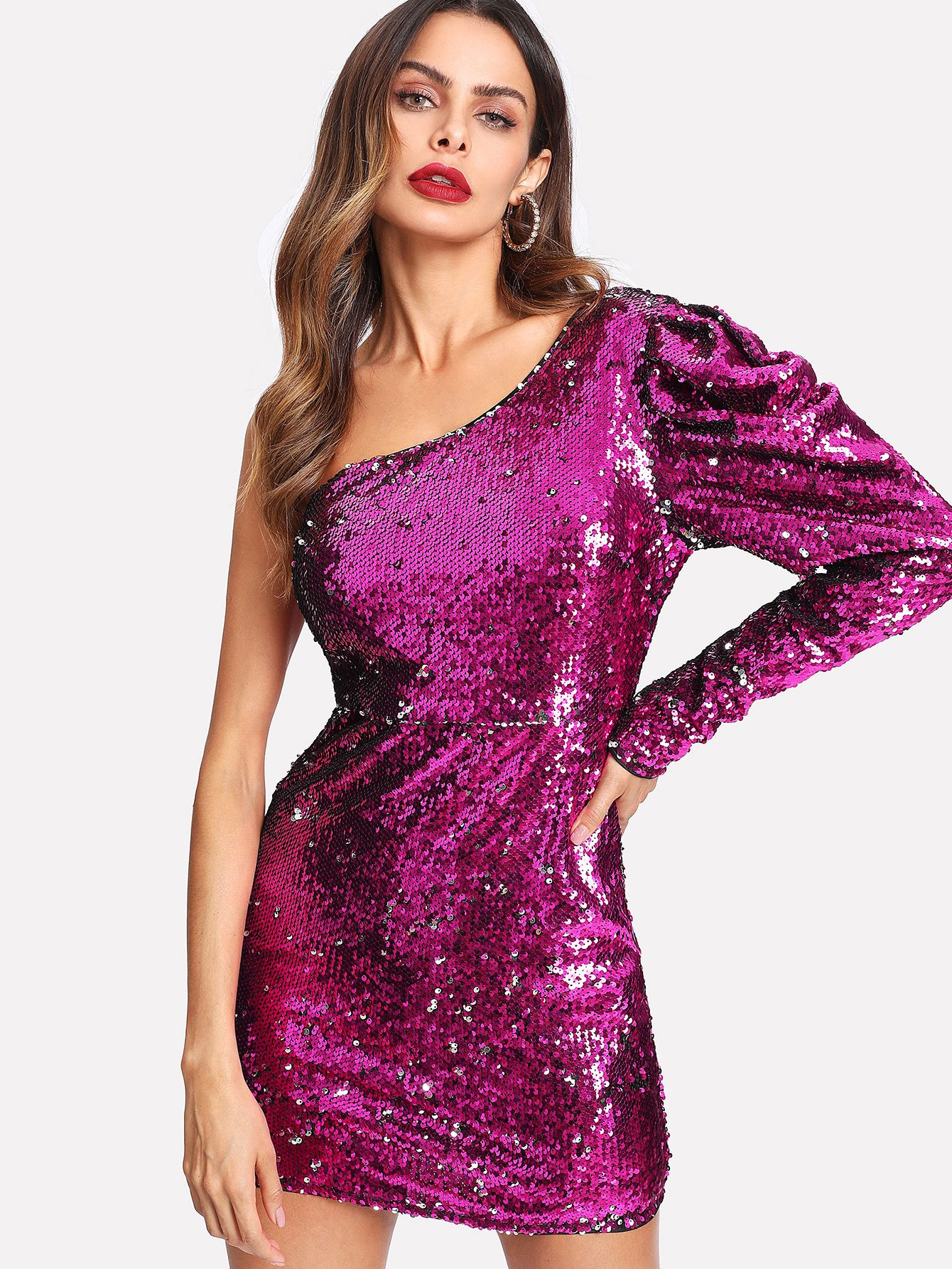 Shop One Shoulder Sequin Dress online. SheIn offers One Shoulder ...