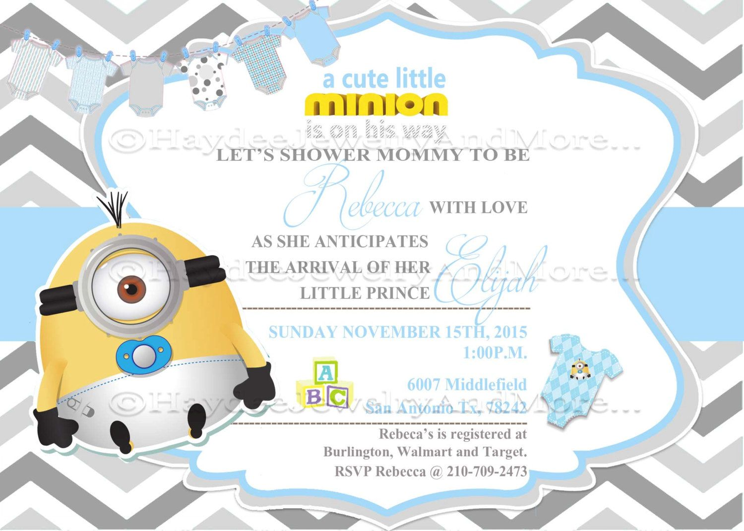 Minions Boy Baby Shower -Blue and Gray Baby Shower card-Minions ...