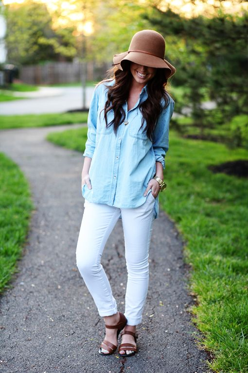summer white jeans & light blue denim blouse with brown hat & sandals