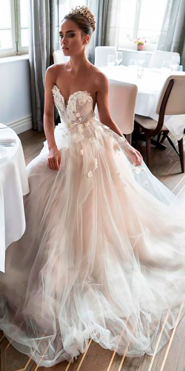 A Line Lace Strapless Sweetheart Blush Wedding Dresses Elihav Son