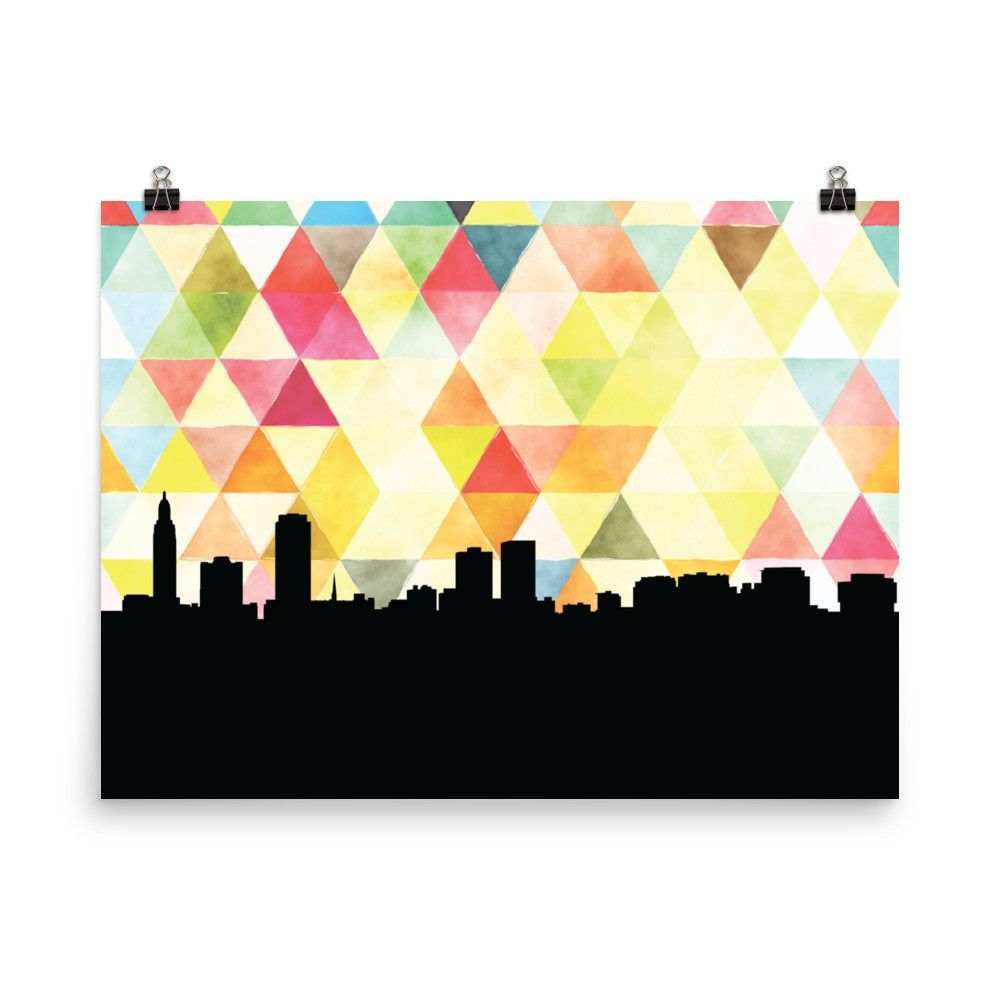 Baton Rouge Geometric Skyline Print in Yellow