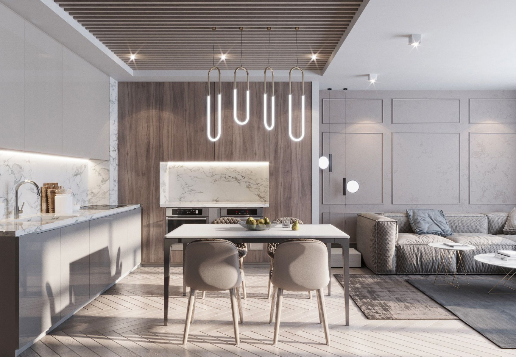 Living room and kitchen -  Interior design living room modern