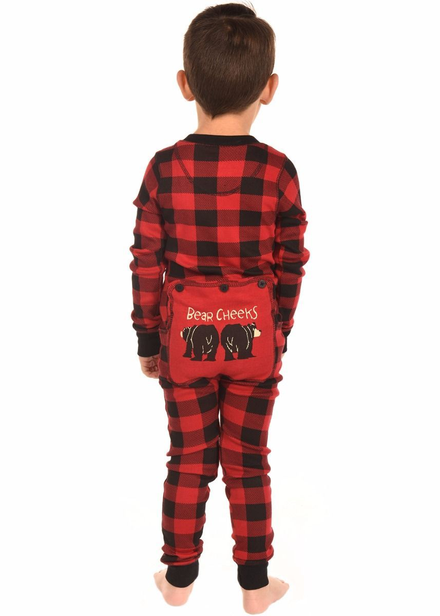 5140ba639 Kids  Bear Cheeks Plaid Flapjacks Onesie