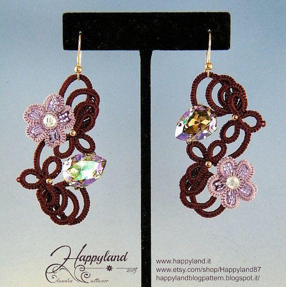 Leilani earrings needle tatting kit and pattern di Happyland87