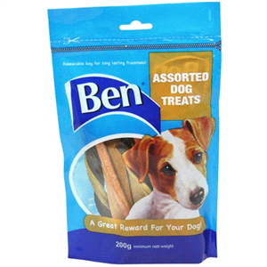 Ben Assorted Chewy Dog Treats 16 x 200g Ben Assorted Chewy Dog Treats features a selection of chewy meaty dog treats that your dog will do anything  to get their teeth around.