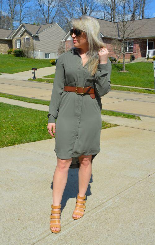 d37e1a95ed9 Workwear Wednesday  Olive Green shirtdress + cognac accessories! Green  Shirt Dress