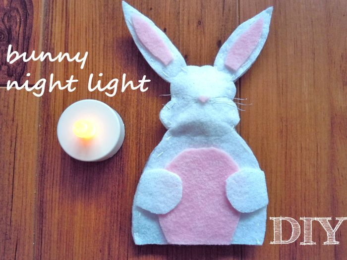 DIY Bunny Night Light for Easter! Make this on Saturday and leave it in your kid's bedrooms to greet the Easter Bunny with. This would also look cute on a coffee or dinner table.