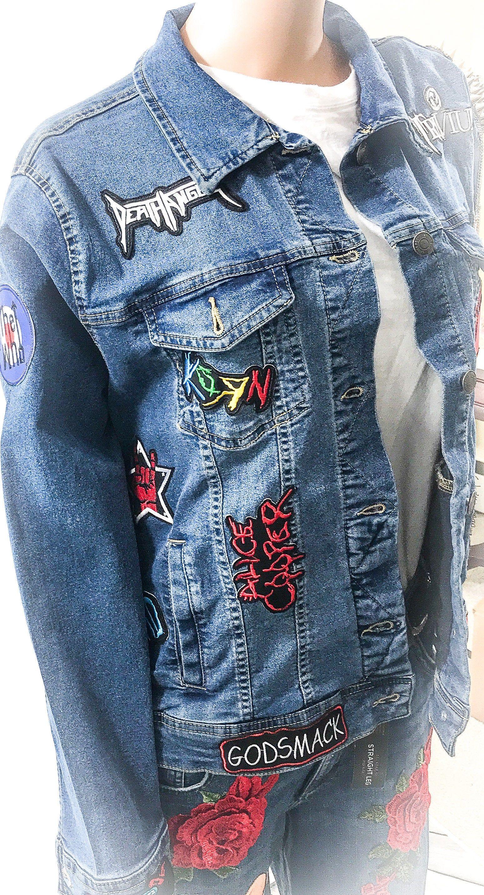 Custom Denim Jacket One of a Kind Music Gift Personalised Band Jacket Unique Kids Clothing Upcycled Jean Jacket Customized Gift