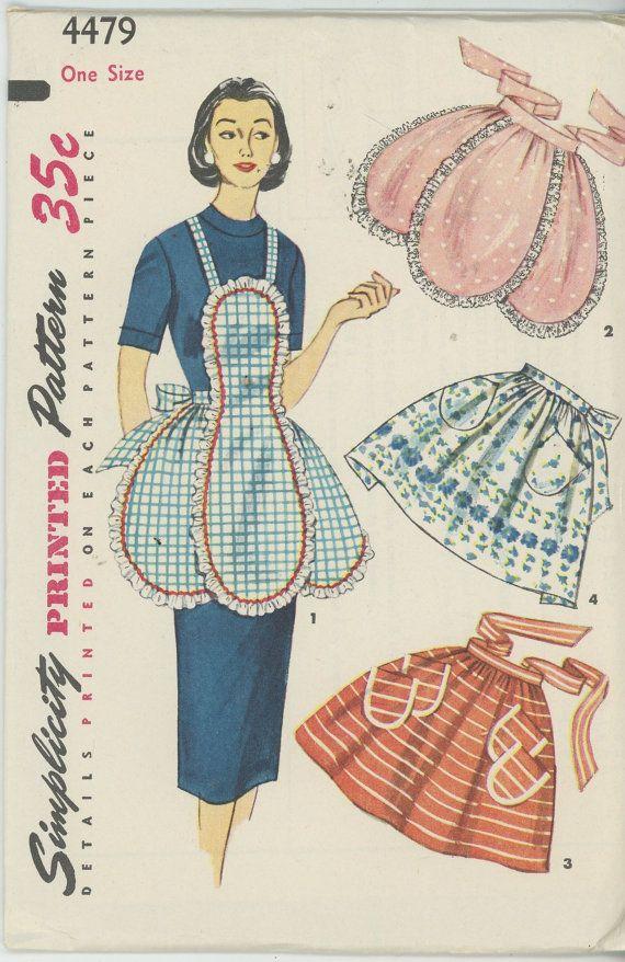 Vintage Simplicity 4479 Sewing Pattern, 1950s Apron Pattern, Hostess Aprons, Bib Apron, One Yard Apron, UNCUT