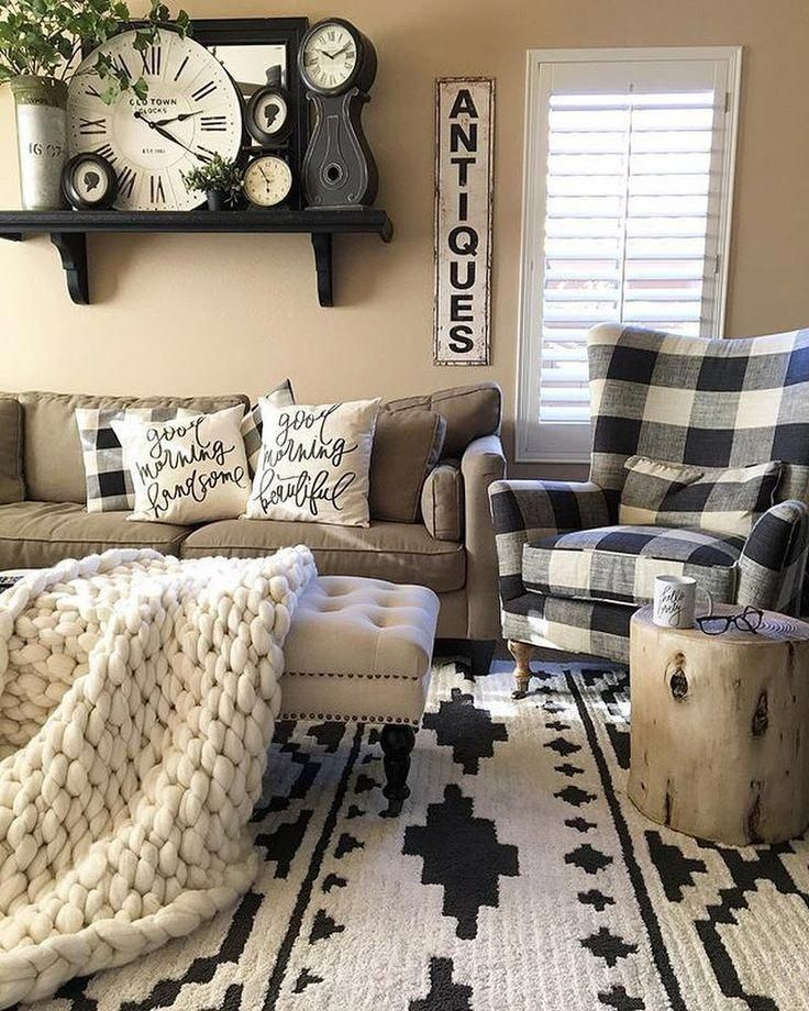 What S Got Gorgeous Style Beautiful Black And White Detailing And Comfy Cozy Vibes Too Farm House Living Room Rustic Family Room Rustic Farmhouse Living Room