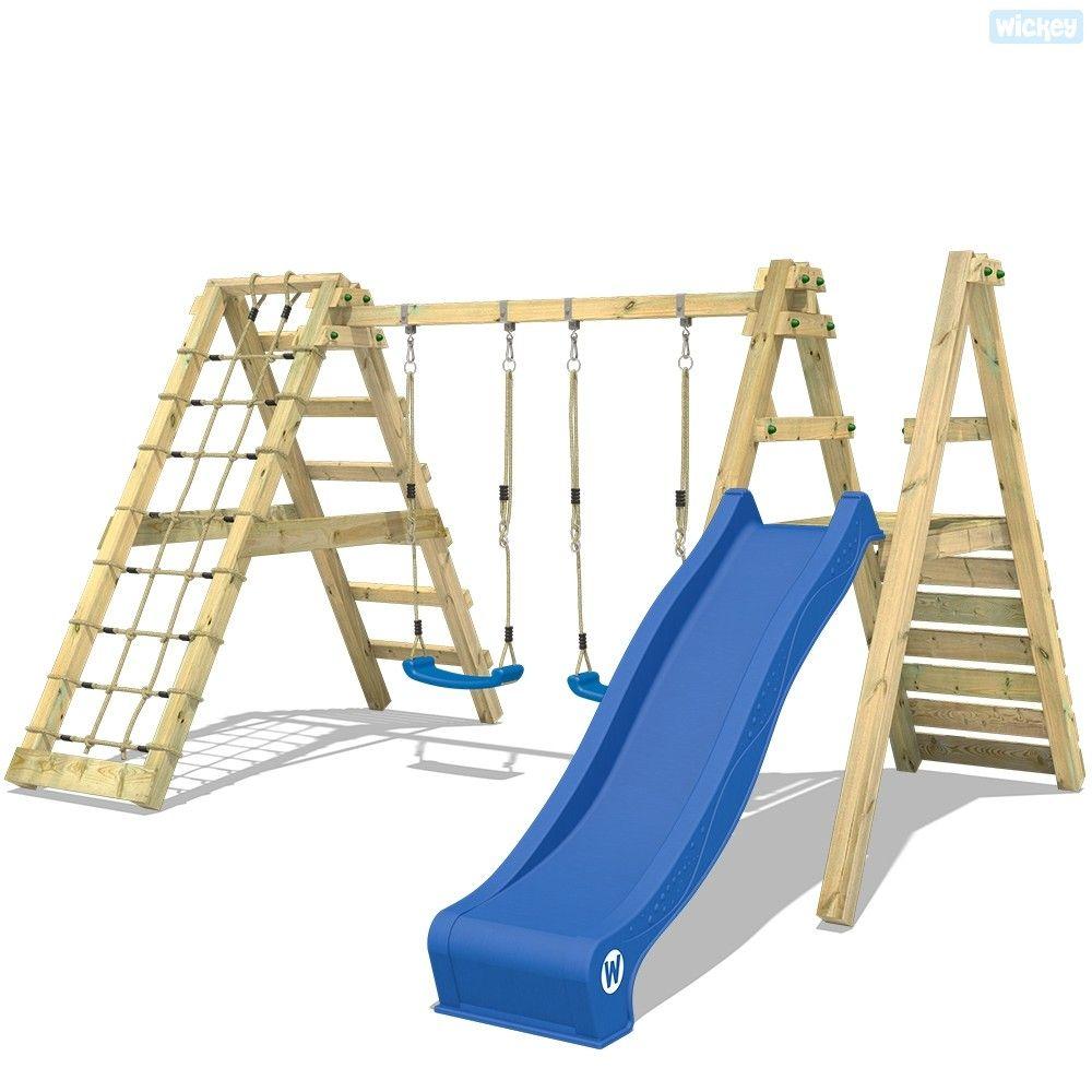 Schaukel Wickey Skywobbler Ist Eine Stabile 2er Schaukel Mit Kletterwand Und Rutsche Grosse Auswahl An Spielturmen Schauk Schaukel Holzschaukel Kinderschaukel