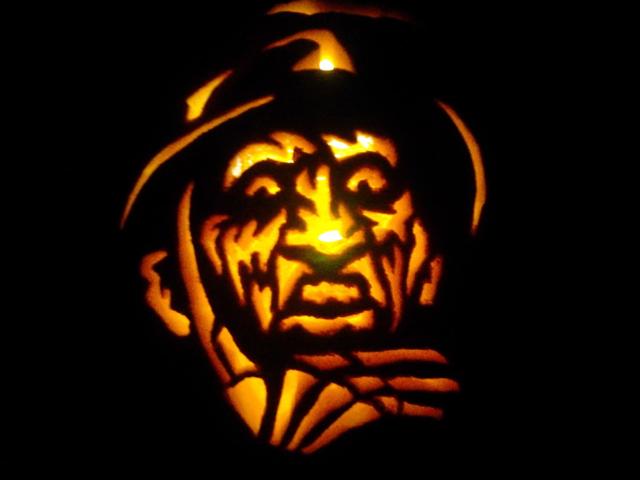 freddy kruger pumpkin carving by me pumpkin and