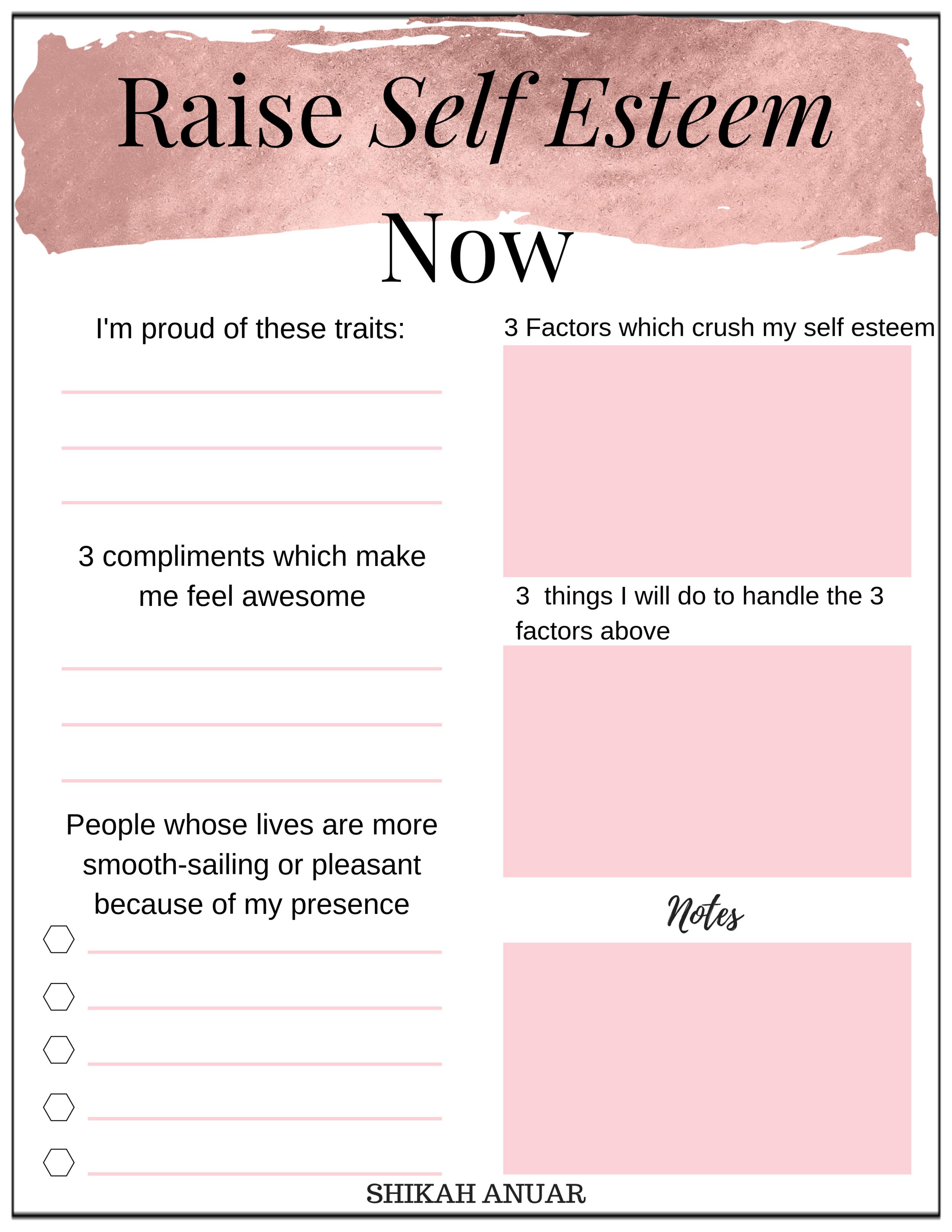 Free Printable Raise Your Self Esteem Now
