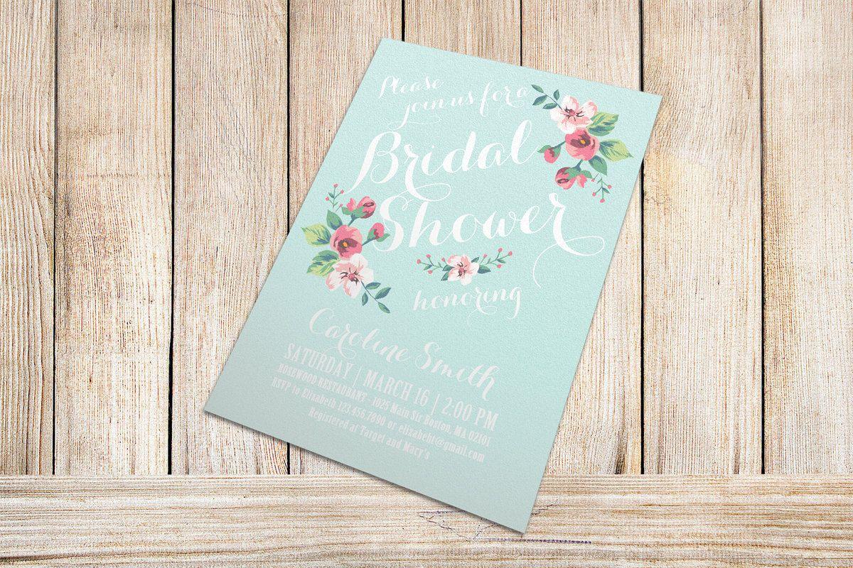 Printable Bridal Shower Invitation (mint background) - Vintage Floral Invitation - Spring/Summer Bridal Shower. $15.00, via Etsy.