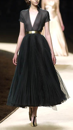 Chanel Elegance Haute Couture Black Dress And Gold Belt This