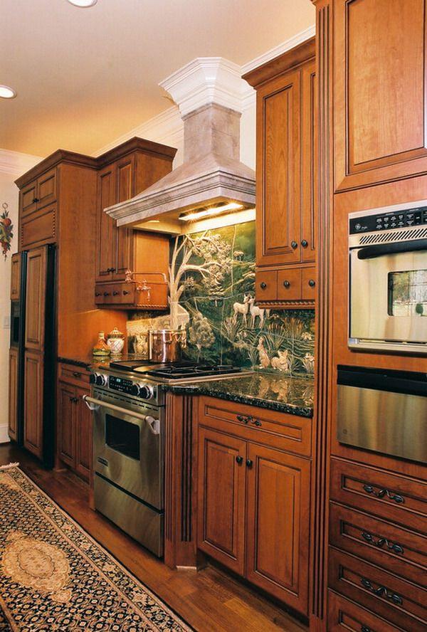 traditional kitchen interior with great ceramic tiles backsplash murals ceramic tile murals on kitchen interior tiles id=40637