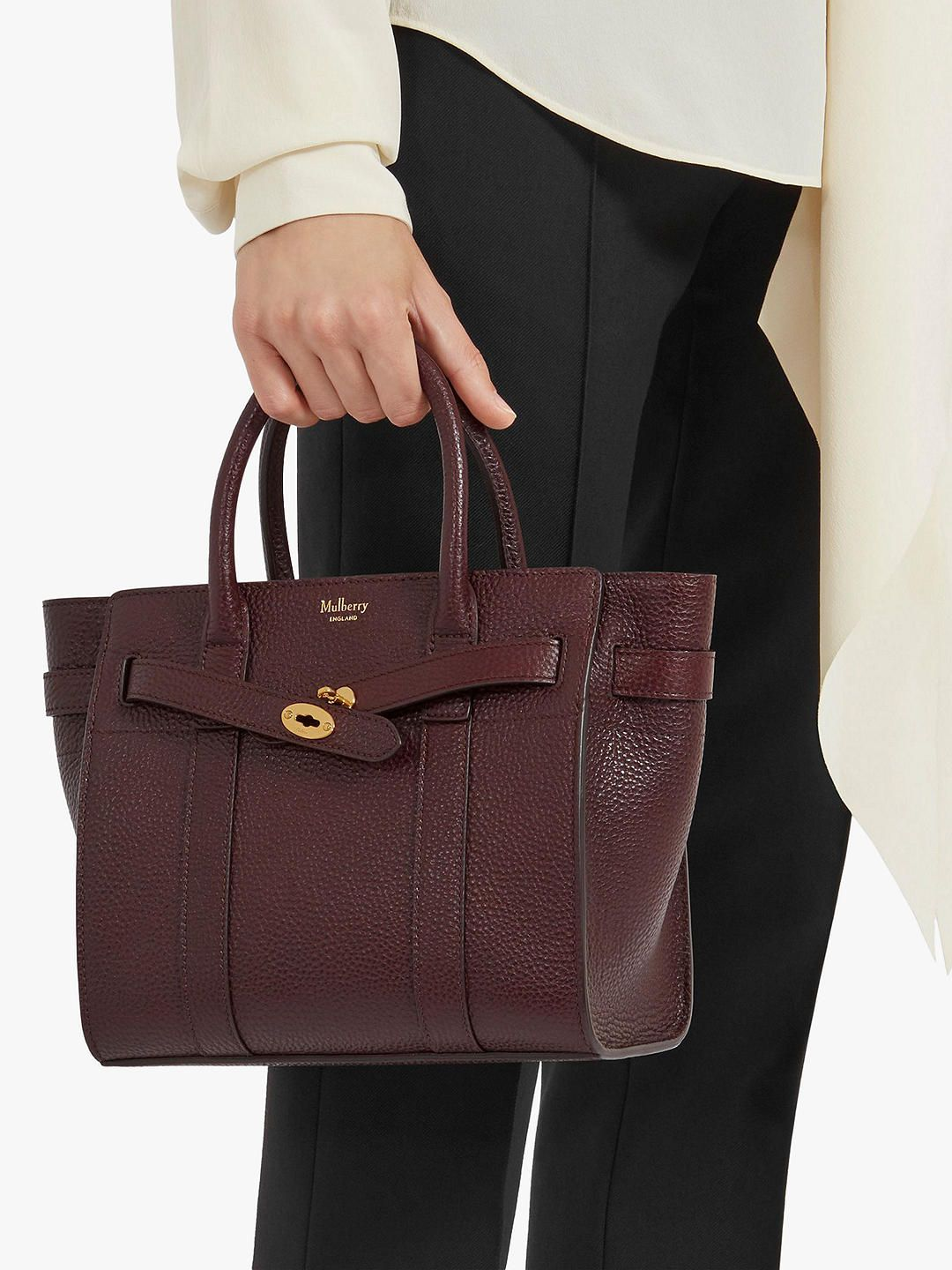 62806b400e2 BuyMulberry Mini Bayswater Zipped Grain Veg Tanned Leather Tote Bag,  Oxblood Online at johnlewis.
