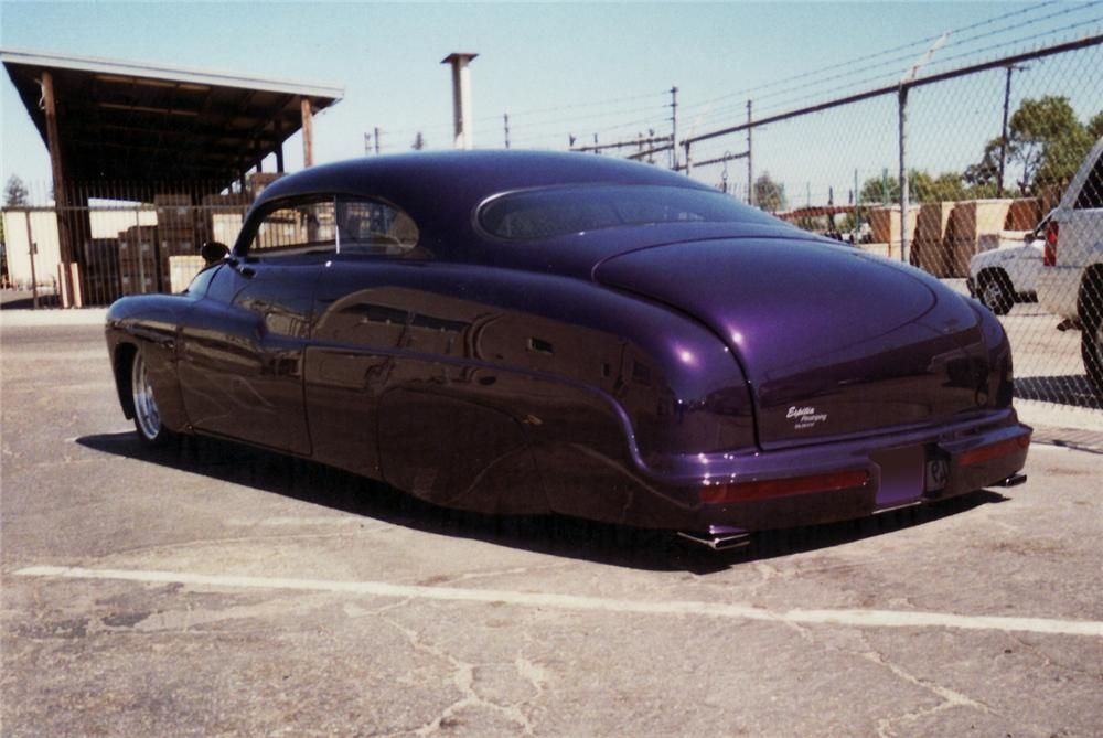 This is a chopped-top custom 1950 Mercury coupe lead sled with a 3 1 ...