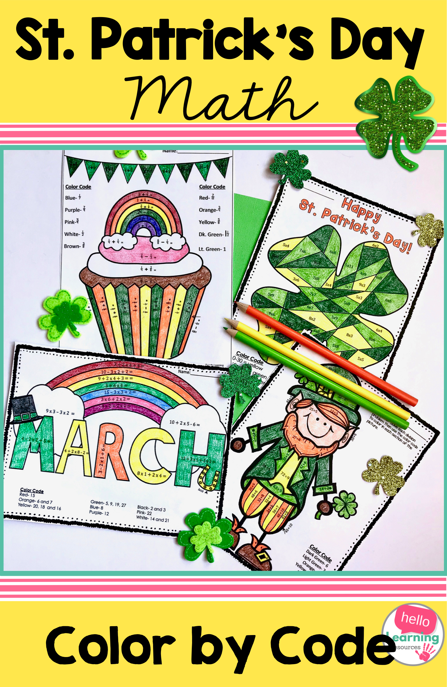 St Patrick S Day Math Color By Code