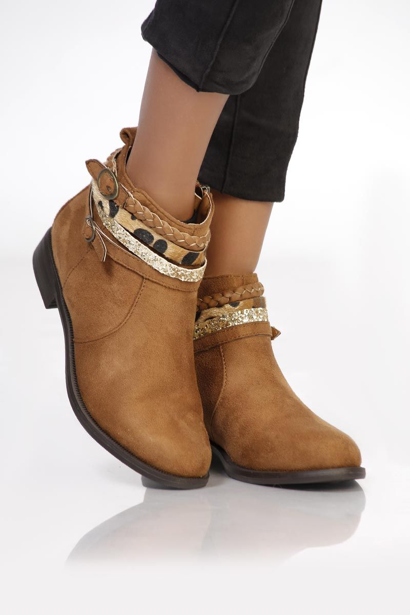 bottines plates camel daim - infinie passion | favo shoes