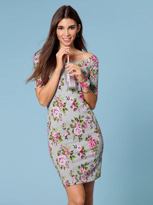 2383a27f04a Vestido de punto elástico flores escote barco