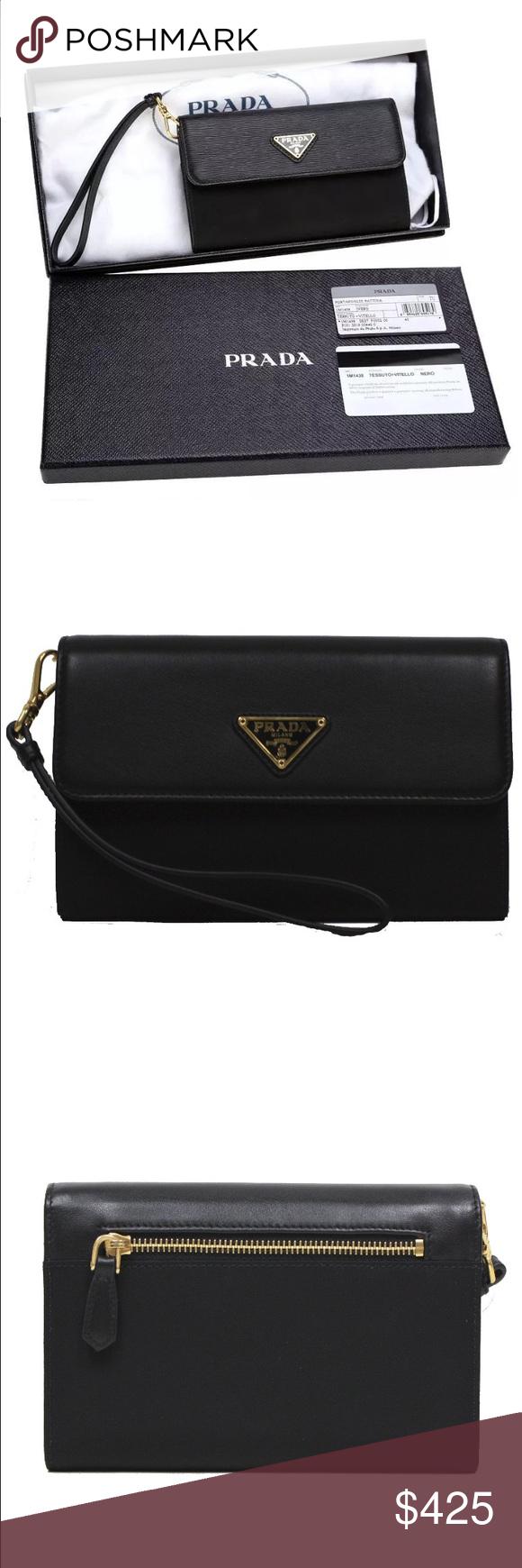 f21fb9e6f1f027 NWT Prada wristlet wallet NEW WITH TAG AUTHENTICITY CARD AND BOX PRADA  MILANO LADIES CLUTCH BAG