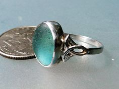 hlseaglassjewelry-vcm - BEAUTIFUL TURQUOISE BEZELED ENGLISH SEA GLASS RING