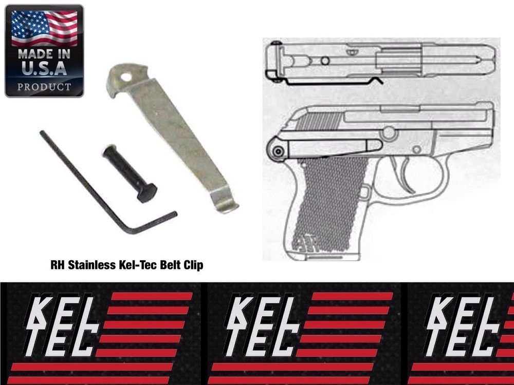 Kel Tec P3AT 380 Right Hand Stainless Belt Clip Pant Holster Waist