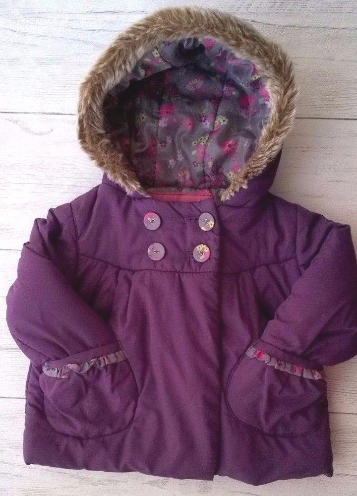 9c8c39e49bf8 Marks   Spencer Girls Purple Coat With Faux Fur trim Hood 12-18 Months   MarksandSpencer  Coat