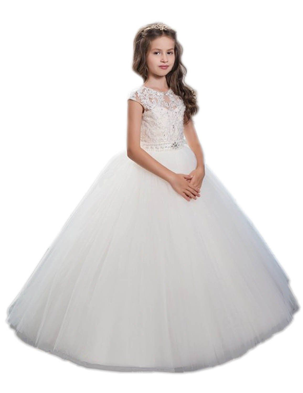 a404825b86 Amazon.com  Helen Lace Flower Girls Dresses First Communion Dress072   Clothing
