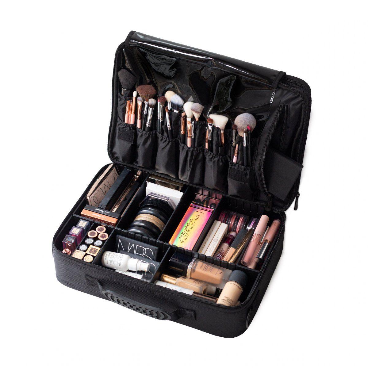 Large Cosmetic Travel Case Black Acrylic makeup storage