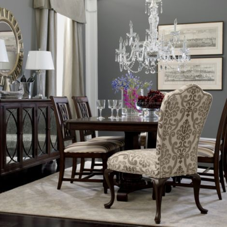 Dinning Room: Head chair and side tables contrast. Also ...