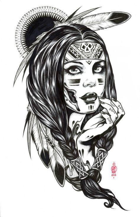 65 Trendy Tattoo Girl Gesicht zeichnen Indianer