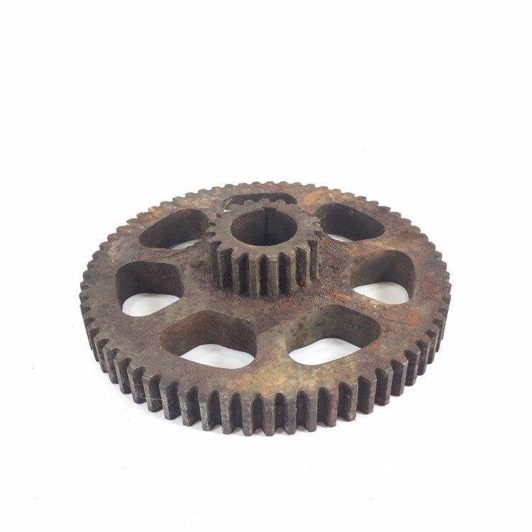 Cast Iron  Vintage Metal Pulley Gear Wheel Industrial Steampunk Base Decor
