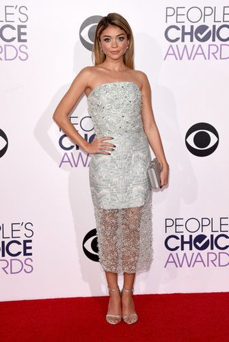The Modern Family actress was both sweet and sexy in a sparkly strapless Christian Siriano confection.                   Source: Getty / Jason Merritt