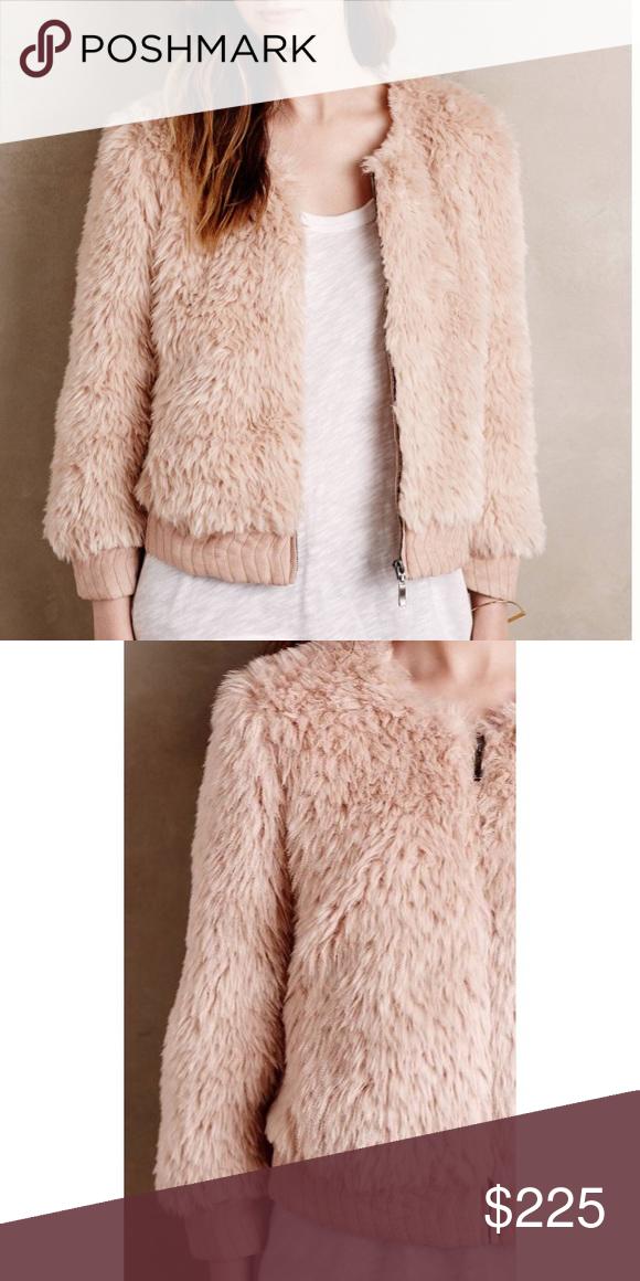 55b9883dbba117 NWT Anthropologie pink rose faux fur jacket Zip front