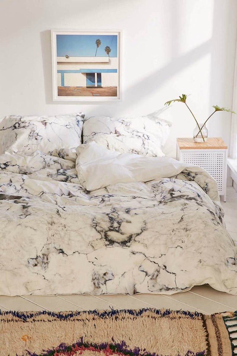 10 Cute And Affordable Comforters That Are Perfect For Your Dorm Room Dorm Room Bedding Marble Duvet Cover Cheap Home Decor
