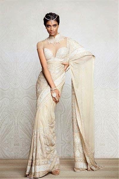 White and gold wedding sari dresses